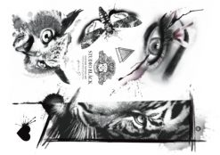 Flash temporary tattoo design by Helene at Studio Bläck. Owl tattoo, eye tattoo, tiger tattoo.