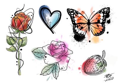 Faketattoos med design av Akka Tattoo.